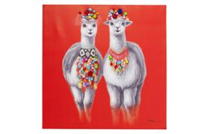 Картина Touched Lama Couple 90x90cm